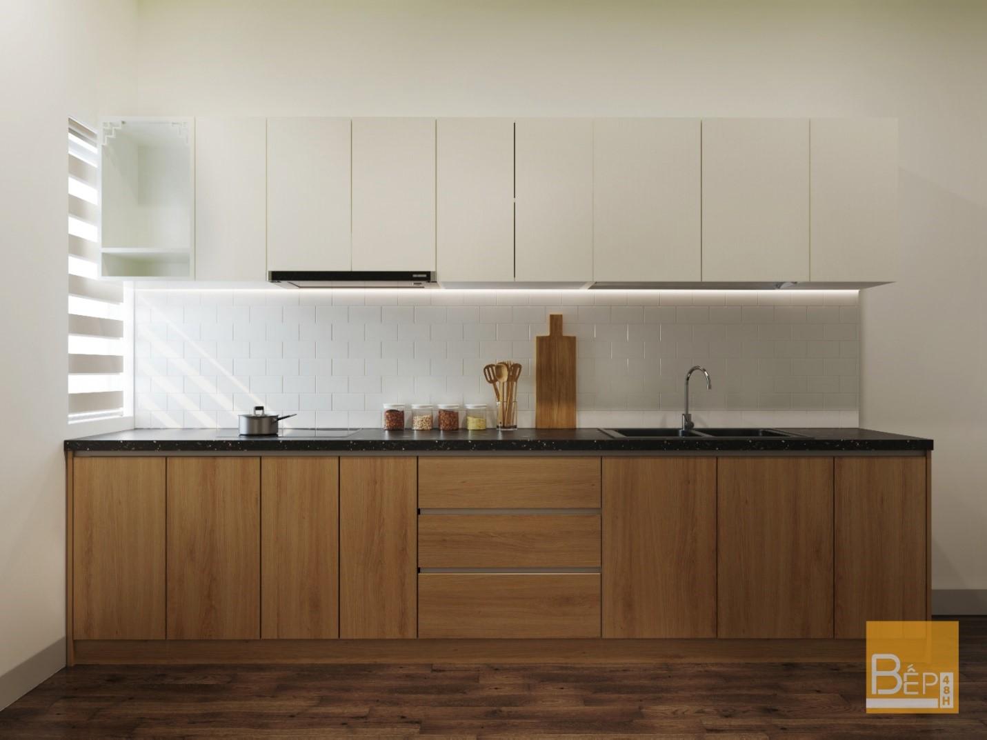 Không gian nấu nướng nhẹ nhàng, ấm cúng do Bếp 48h thiết kế
