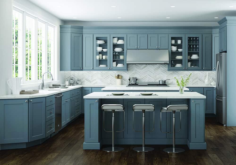 Hệ tủ bếp màu xanh lạ mắt