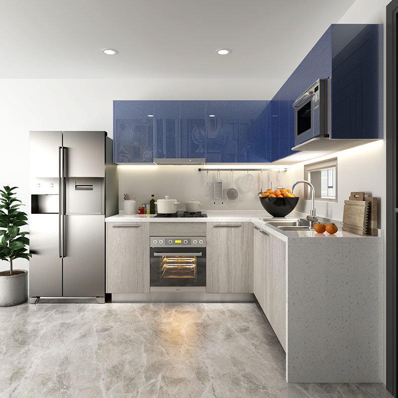 Hệ tủ bếp màu xanh - xám hiện đại