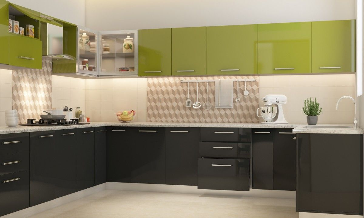 Thiết kế tủ bếp Acrylic bóng gương đầy sáng tạo với hai màu xanh đen