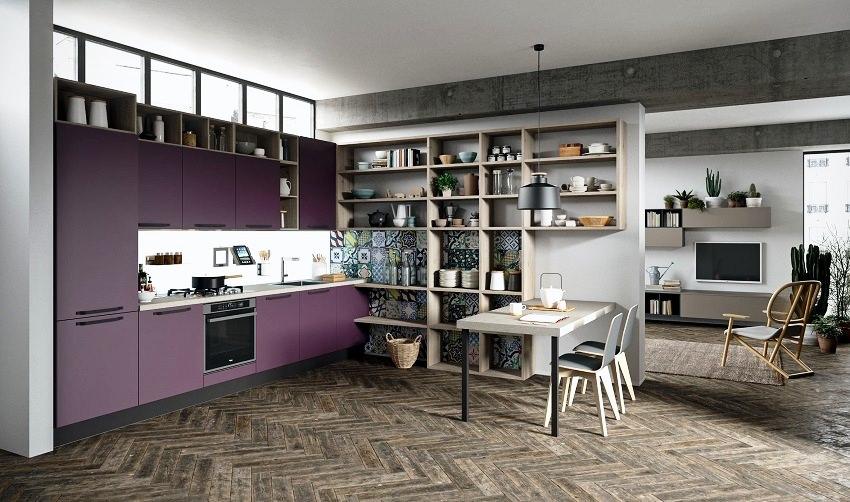 Tủ bếp màu tím hot trend