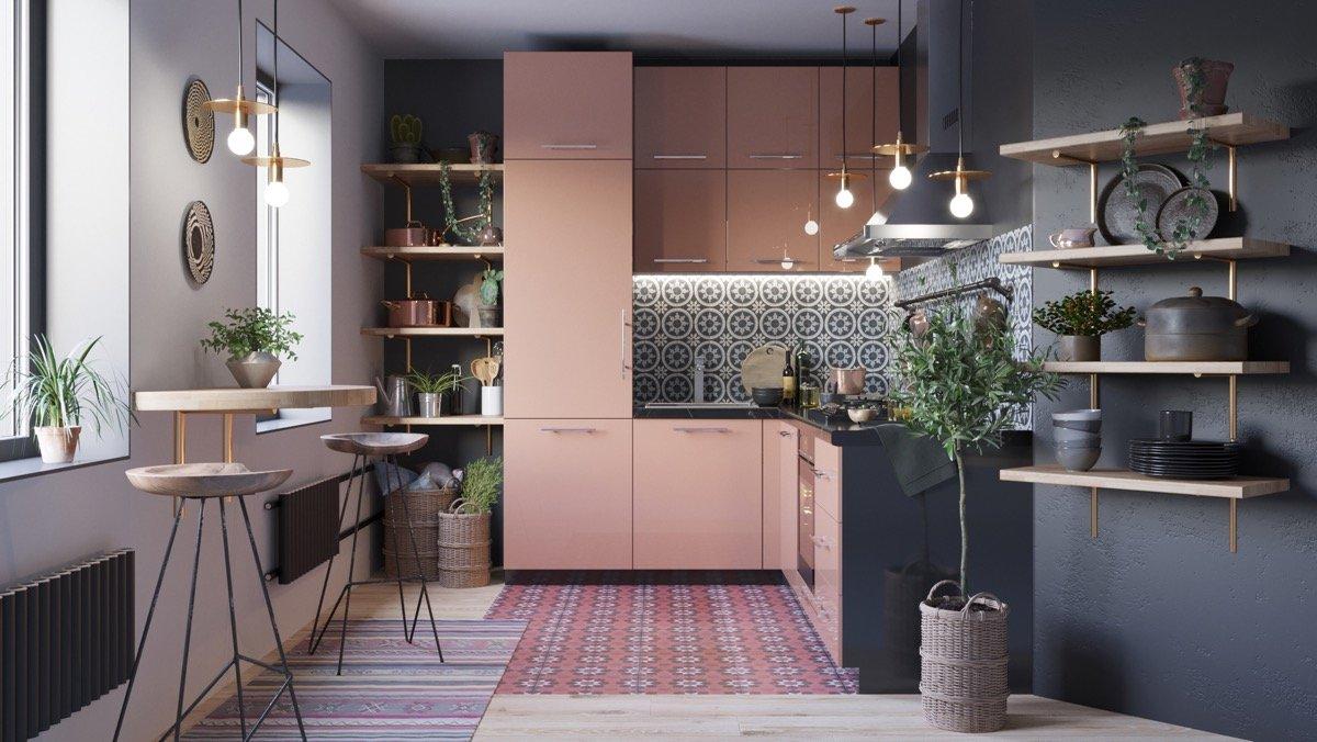Tủ bếp chữ L màu hồng xinh xắn