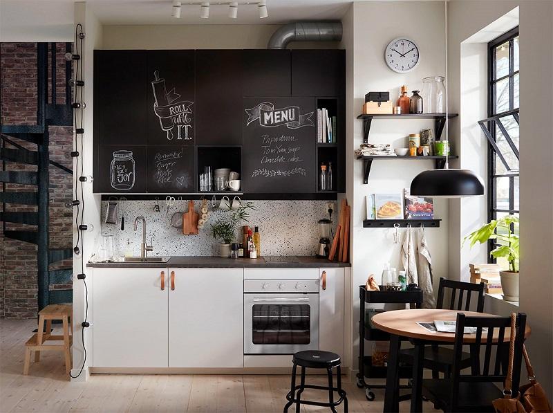 mẫu tủ bếp đẹp nhỏ kiểu công nghiệp