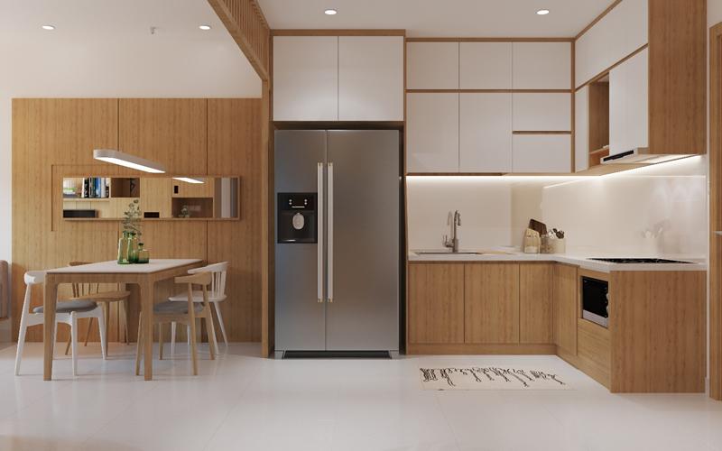 Căn bếp tiện nghi được bố trí theo nguyên tắc tam giác hoạt động