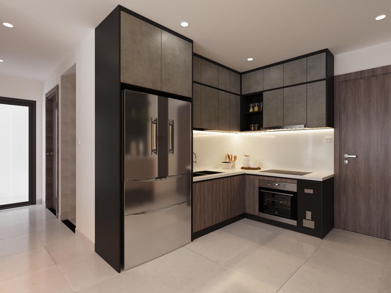 Thiết kế tủ bếp đẹp màu sắc độc đáo