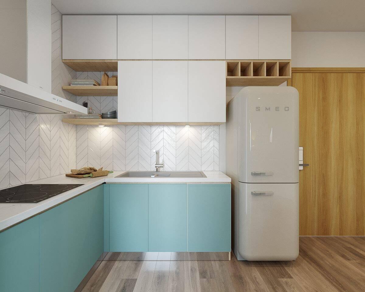 Tủ bếp hình chữ L được bố trí sát tường tiện lợi