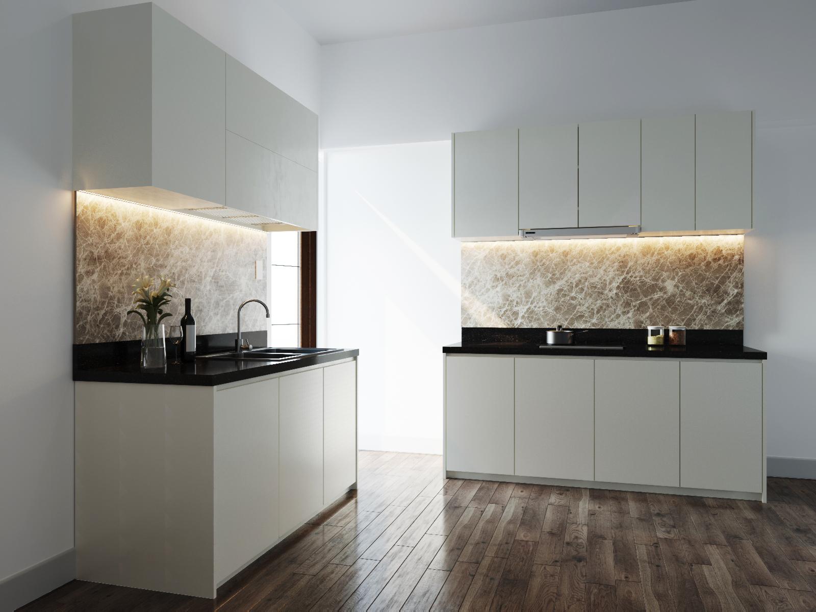 Thiết kế tủ bếp không tay nắm