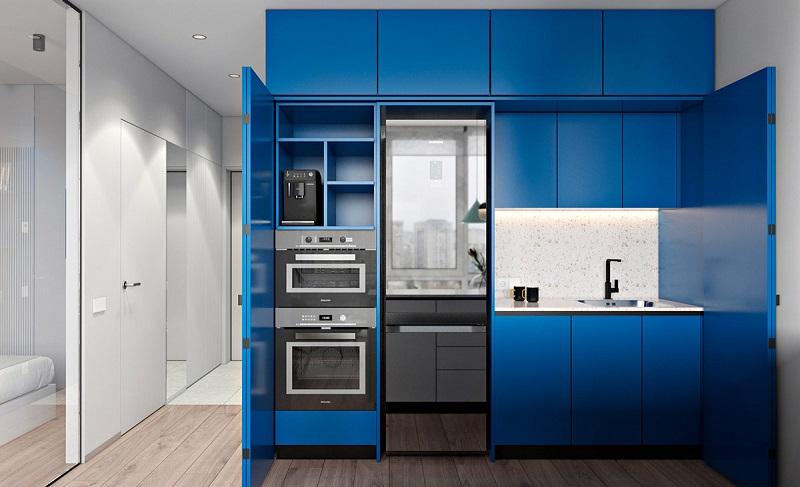 tủ bếp đẹp cho không gian nhỏ ẩn trong cánh tủ