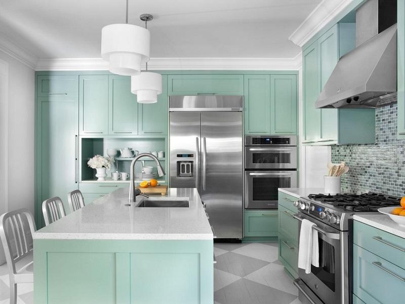 Màu sắc đa dạng giúp các mẫu tủ bếp đẹp bền theo thời gian