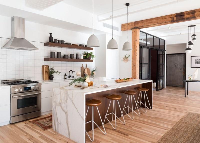 Tủ bếp đẹp bền bằng chất liệu gỗ công nghiệp