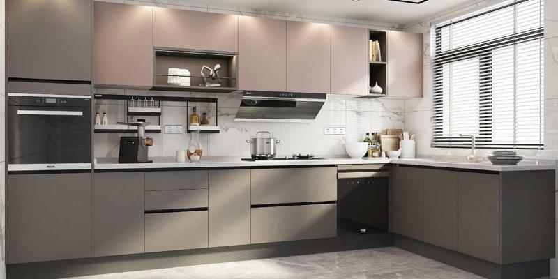 Tủ bếp đẹp màu nâu trầm