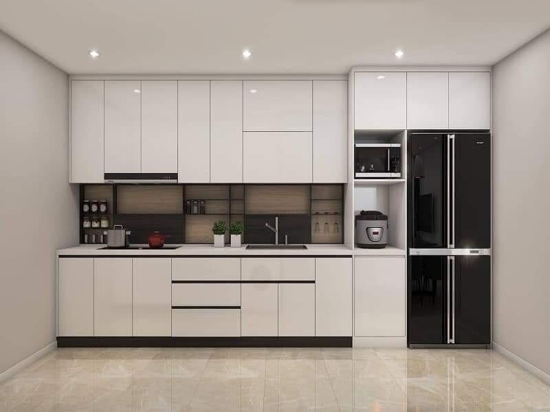 Tủ bếp đen trắng cho nhà nhỏ