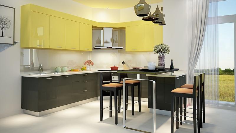Tủ bếp đẹp làm bằng gỗ công nghiệp