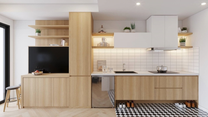 Tủ bếp phong cách Japandi