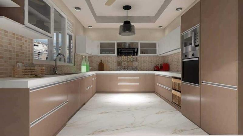 Tủ bếp HDF hình chữ u