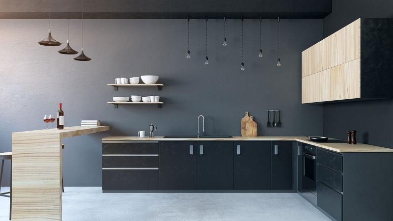 Tủ bếp màu đen trắng