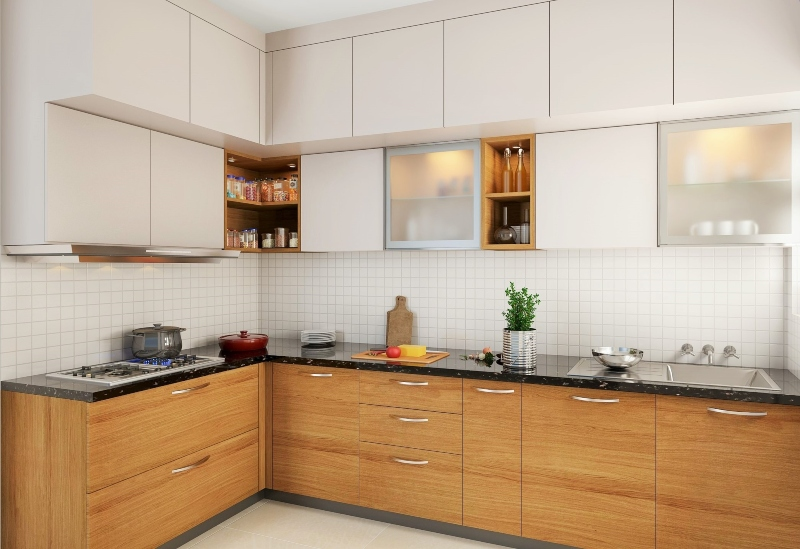 Tủ bếp HDF hình chữ L đẹp