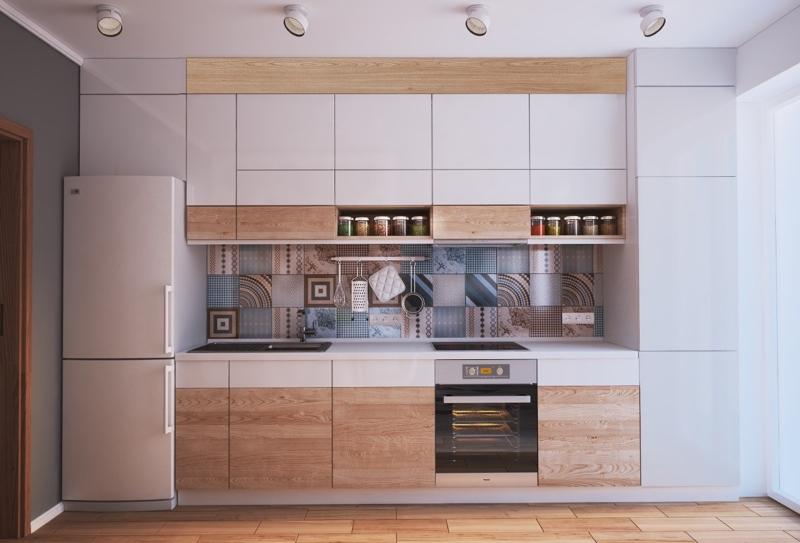 Hệ tủ bếp đơn giản với điểm nhấn ốp tường bếp nhiều hoa văn độc đáo