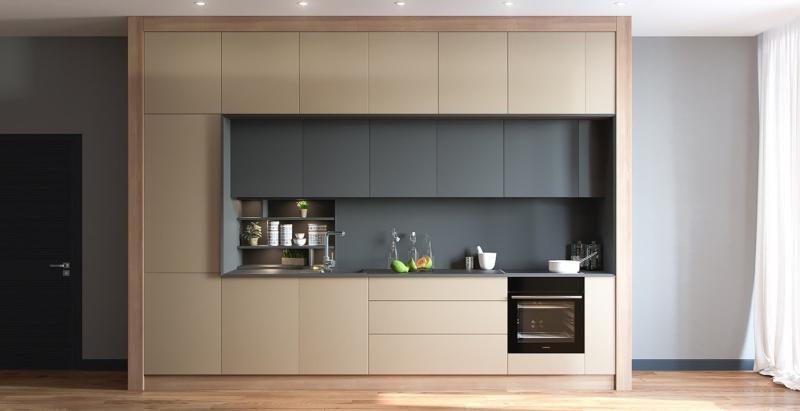 Tủ bếp tông màu trung tính với hai màu xám và be làm chủ đạo