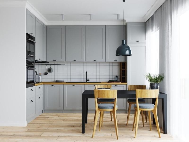 Tủ bếp đẹp giá rẻ phong cách Tân cổ điển màu xám xanh