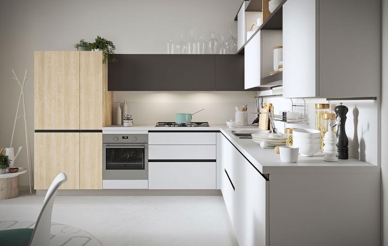 Mẫu tủ bếp đẹp giá rẻ làm từ vật liệu MDF phủ Laminate