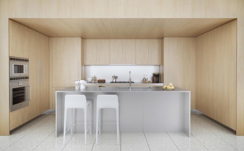 Tủ bếp tông màu trung tính nhẹ nhàng