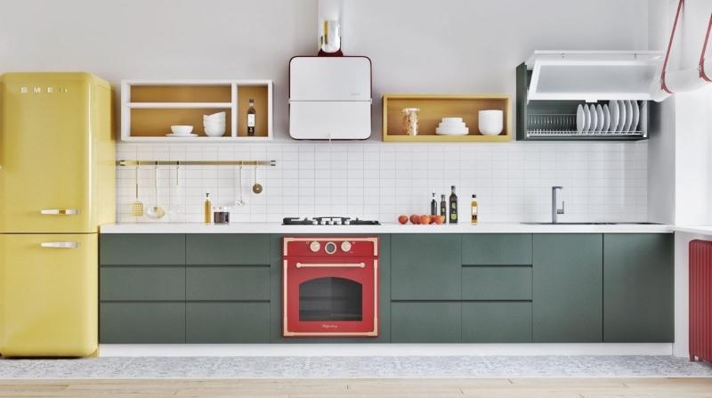 Thiết kế tủ bếp theo phong cách Colour Block