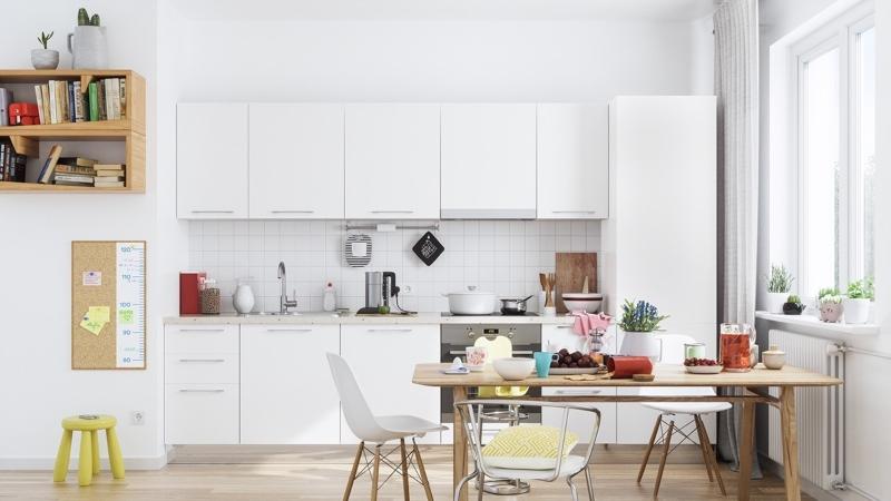 Ốp tường họa tiết caro tạo điểm nhấn cho căn bếp
