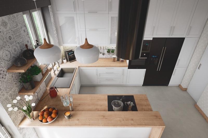 Không gian bếp tông màu trung tính nhẹ nhàng