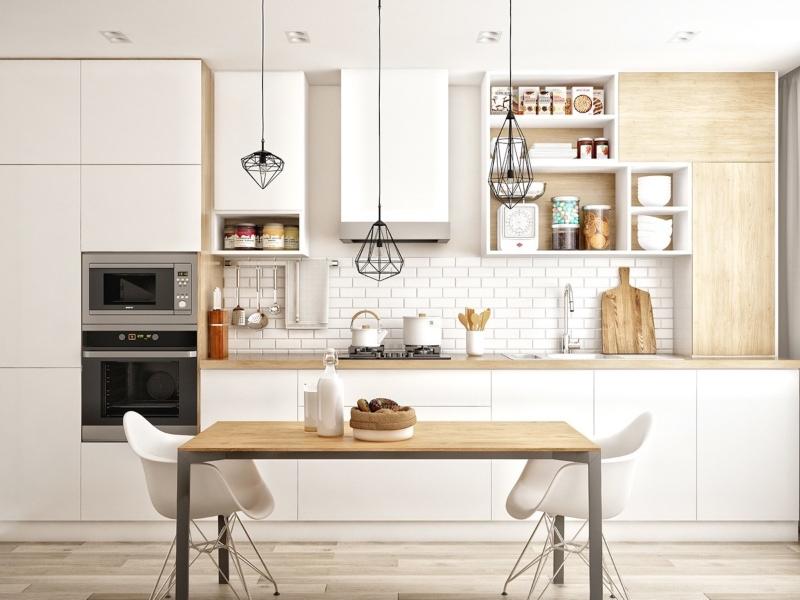 Tủ bếp phong cách Scandinavian kệ mở đẹp
