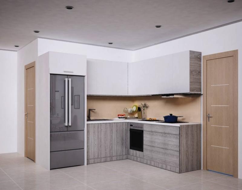 Tủ bếp chữ L nhỏ gọn được bố trí cạnh cửa ra vào